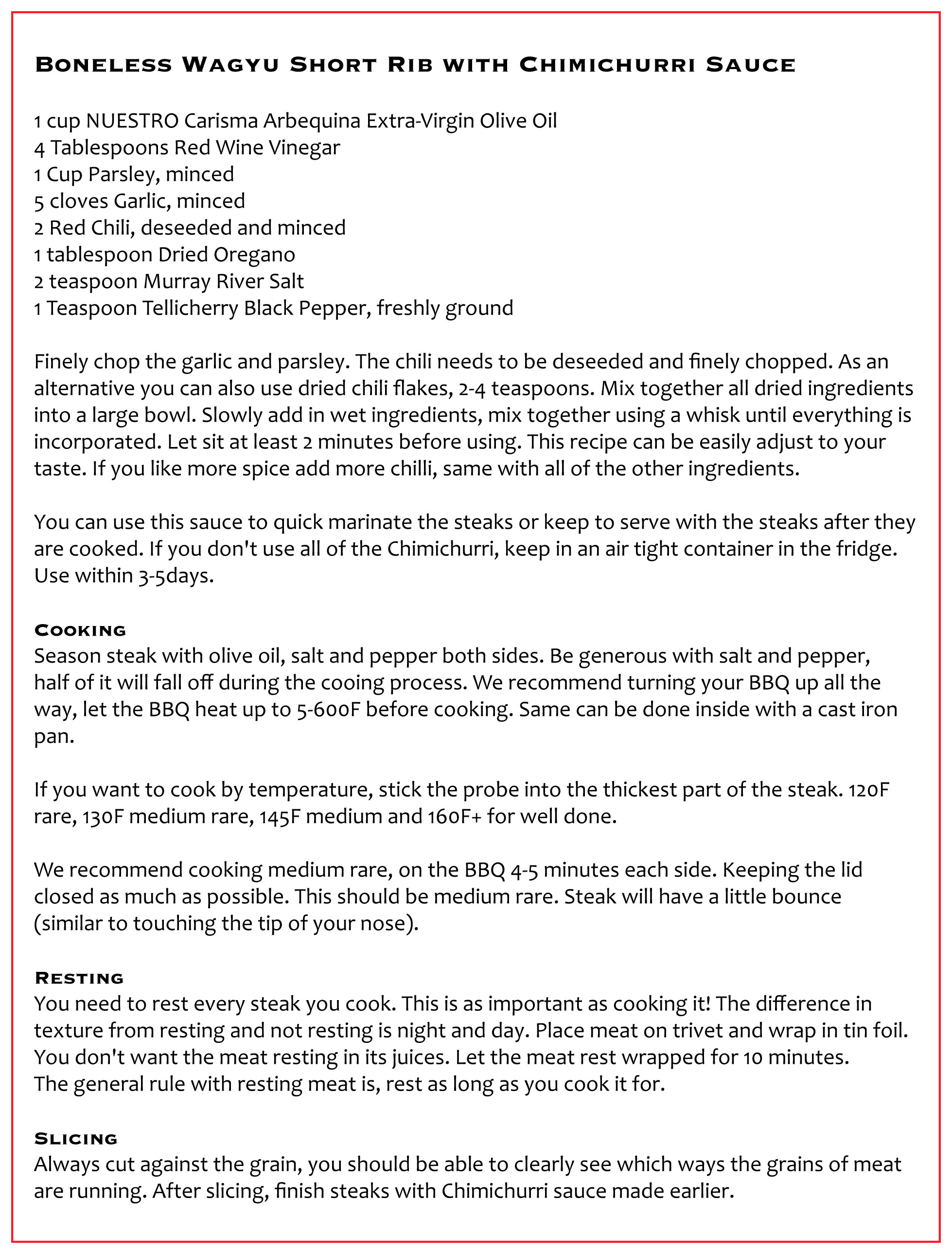 NEW RECIPE: Boneless Wagyu Short Rib w/ Chimichurri Sauce