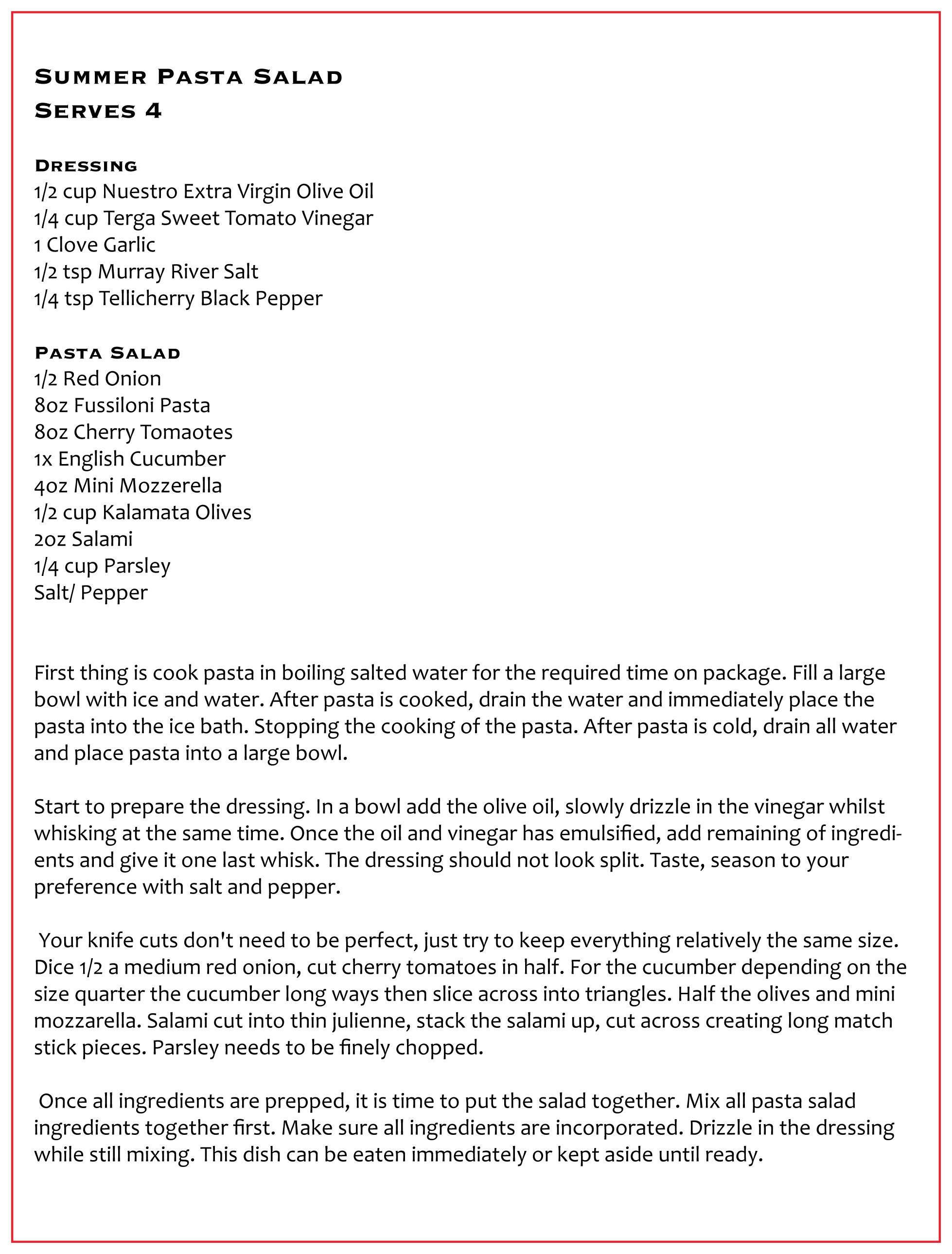 NEW RECIPE: Summer Pasta Salad
